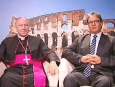 Archbishop Gerard Pettipaw, left, and Edward John, chief of Tlazten First Nation, speak on Canada AM from CTV's studios in Rome, Wednesday, April 29, 2009.