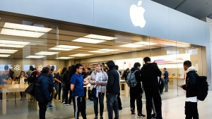 People line up for the new Apple iPhone X at the Square One Shopping Centre in Mississauga, Ont., on Friday, Nov. 3, 2017. (Nathan Denette / THE CANADIAN PRESS)
