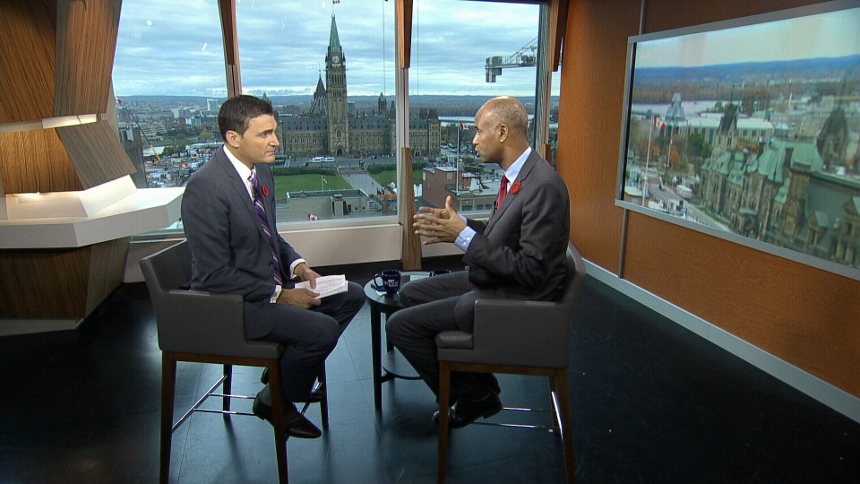 Host of CTV's Question Period Evan Solomon and Immigration Minister Ahmed Hussen.