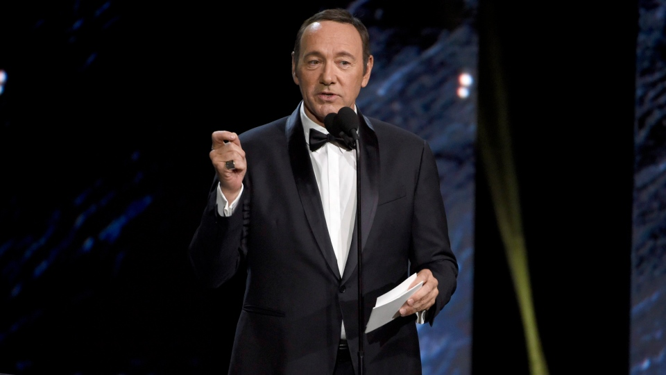 Kevin Spacey presents the award for excellence in television at the BAFTA Los Angeles Britannia Awards at the Beverly Hilton Hotel in Beverly Hills, Calif. on Oct. 27, 2017 (Chris Pizzello/Invision/AP)
