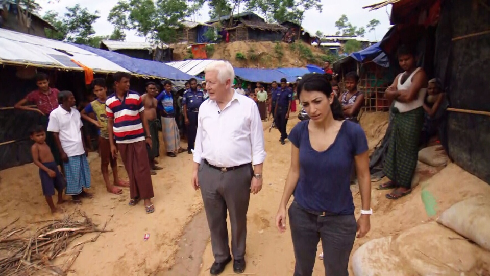 Canada's new special envoy to Myanmar, Bob Rae, assess a Rohingya refugee camp in the south of Bangladesh.
