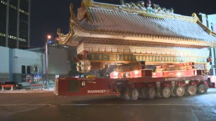 The Harbin Gate was taken down early Sunday morning and transported to a storage facility in Cromdale.