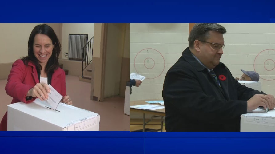 Valerie Plante and Denis Coderre cast their ballots on election day.