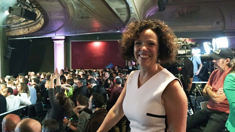 Sue Montgomery, elected as borough mayor of CDN-NDG, celebrates at the Projet Montreal party on Nov. 5, 2017 (CTV Montreal/Cindy Sherwin)