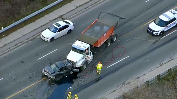 Female seriously injured in collision with loaded dump truck near Oshawa