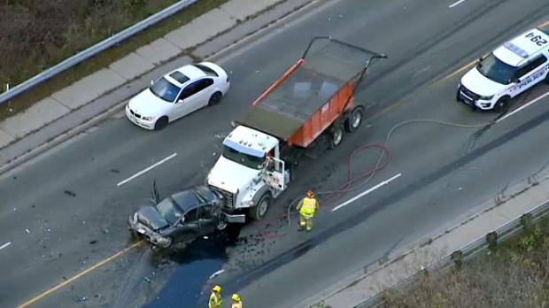 Three injured, one seriously, in five-vehicle crash in Oshawa, Ont.