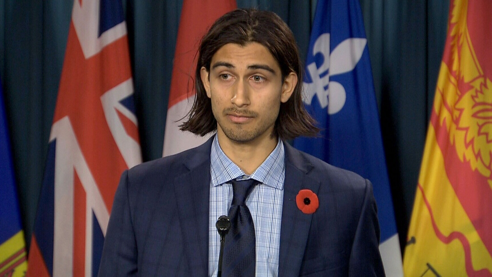 Yusuf Ahmed, 19, speaks to reporters about having a name similar to someone on Canada's no-fly list in Ottawa on Nov. 6, 2017.