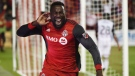 Toronto FC forward Jozy Altidore (17) celebrates after scoring against the Philadelphia Union during second half MLS soccer action in Toronto on August 23, 2017. History and Toronto FC's sterling record at home are against the New York Red Bulls as they try to recover from a 2-1 deficit in Sunday's second leg of the MLS Eastern Conference semifinal.The sixth-seeded Red Bulls need to win and score at least two goals to advance, with a repeat of Monday's Game 1 score forcing extra time. THE CANADIAN PRESS/Nathan Denette
