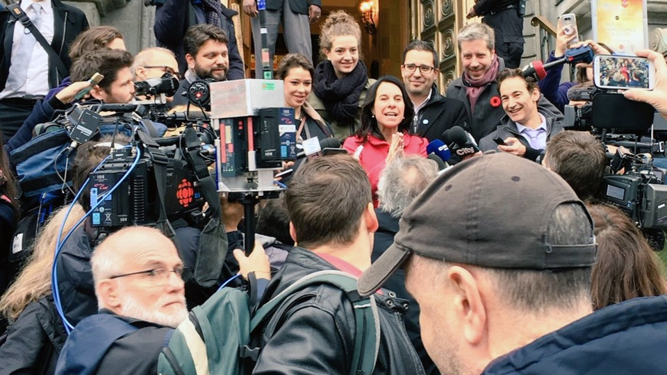 Valerie Plante faces the press on the steps of Montreal City Hall on Nov. 6, 2017 (CTV Montreal/Adam Kovac)
