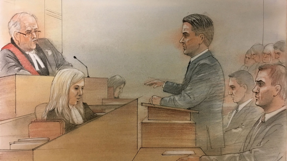 Judge Archibald speaks with Alexander Smith for plaintiff. Sean Laubman, sitting on the far right, represents Miramax. (Sketch by John Mantha)