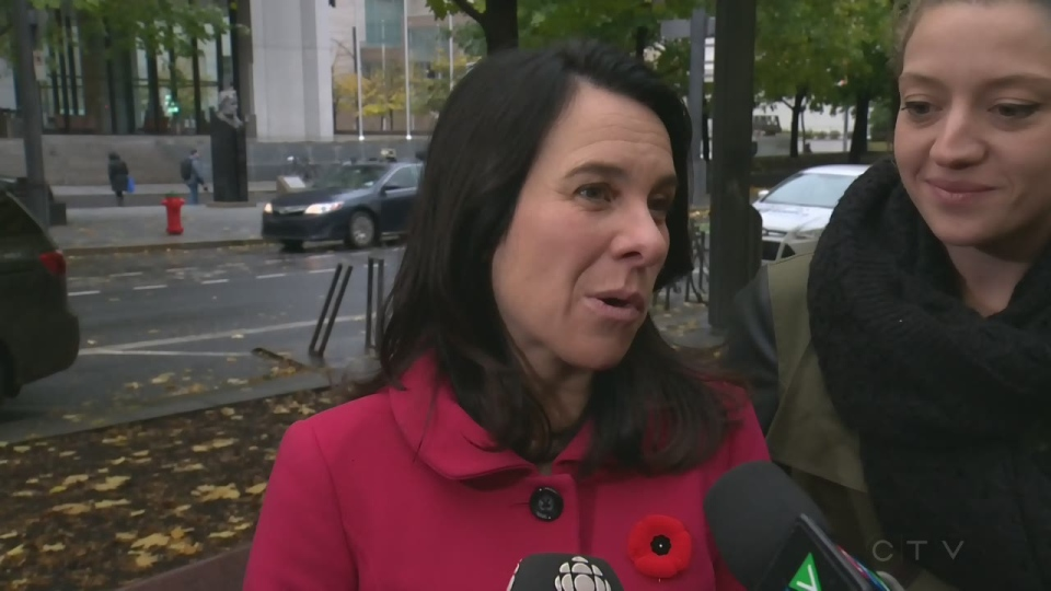Valerie Plante talks to reporters outside Montreal City Hall on Nov. 6, 2017