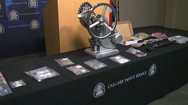Police seized two pill presses, prohibited instruments under new Alberta legislation. One needed to be destroyed because of contamination.