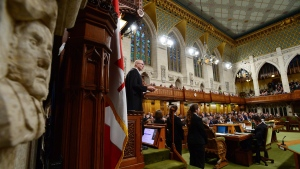 Speaker of the House of Commons Geoff Regan speaks for the 150th anniversary of the first meeting of the first Parliament of Canada, in Ottawa on Monday, Nov. 6, 2017. (Sean Kilpatrick / THE CANADIAN PRESS)