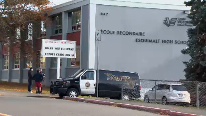 A police van is seen outside Esquimalt High after a student was robbed at knifepoint nearby. Nov. 6, 2017. (CTV Vancouver Island)