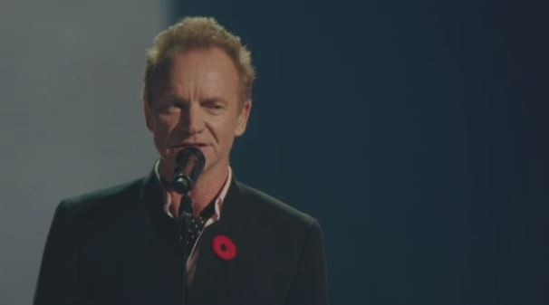 Sting performs at the Leonard Cohen tribute in Montreal.