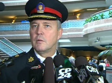 Toronto Police Chief Bill Blair speaks to reporters from headquarters in downtown Toronto, Thursday, April 30, 2009.