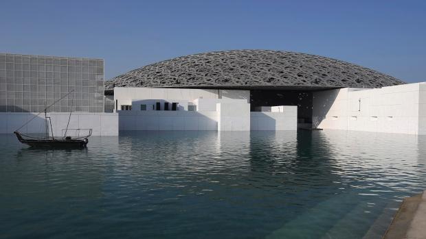 This Monday, Nov. 6, 2017, photo, shows the Louvre Abu Dhabi in Abu Dhabi, United Arab Emirates. (AP Photo/Kamran Jebreili)