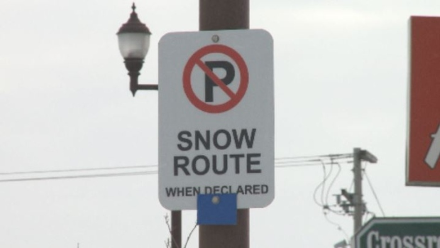 New snow route parking ban sign in Yorkton