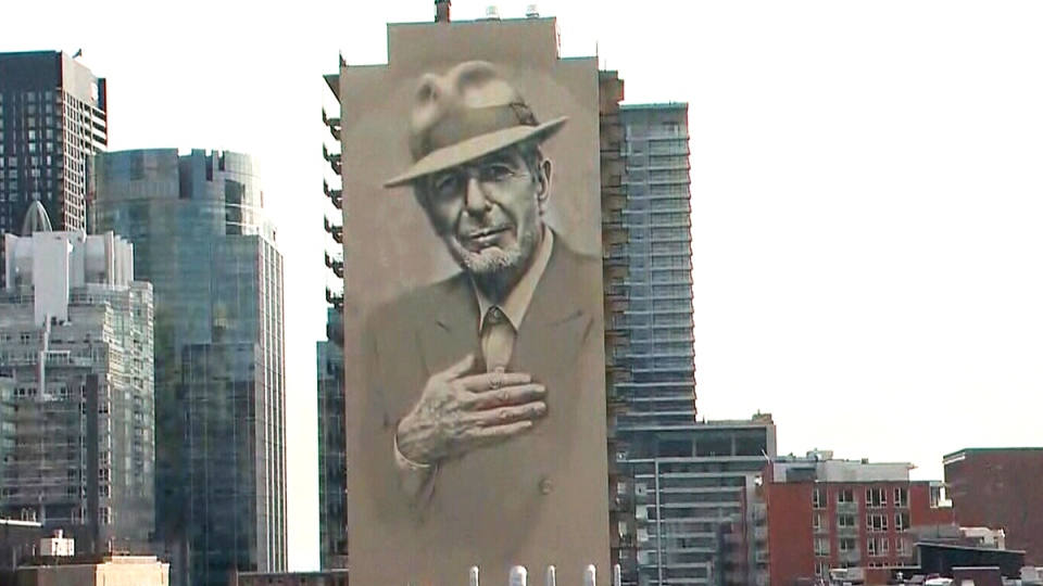 Leonard cohen mural inaugurated on crescent st ctv for Mural leonard cohen