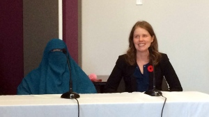 Marie-Michelle Lacoste, wearing a niqab, is challenging a provincial law that restricts interactions between people with their face covered and public employees. (CTV Montreal/Tarah Schwartz)