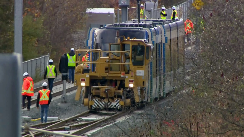 An Ion light rail vehicle is towed along the track in Waterloo on Tuesday, Nov. 7, 2017.