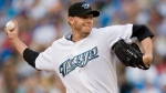 Toronto Blue Jays pitcher Roy Halladay works against the Boston Red Sox during first inning AL baseball action in Toronto on Wednesday, August 19, 2009. THE CANADIAN PRESS/Darren Calabrese