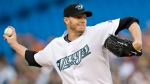 Toronto Blue Jays pitcher Roy Halladay works against the Tampa Bay Rays during first inning AL baseball action in Toronto on August 24, 2009. (Darren Calabrese / THE CANADIAN PRESS)