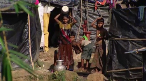 The Rohingya refugees have been living in no-man's land for two months. Barbed wire surrounded by landmines ensures they don't cross back into Myanmar, their native country.