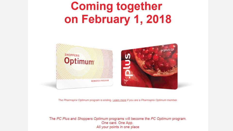 Loblaw will merge the Optimum and PC Plus points programs starting Feb. 1, 2018 under the name PC Optimum. (Pcplus.ca)