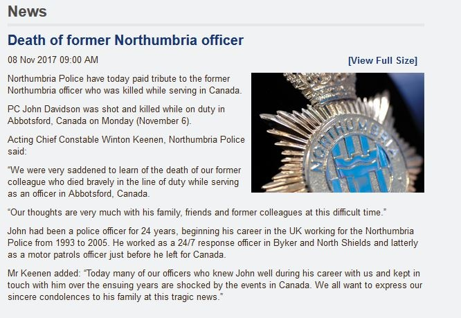 A statement from the Northumbria police expresses the force's condolences.