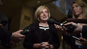 In this file photo, Alberta Premier Rachel Notley speaks to reporters following a Council of the Federation meeting in Ottawa on October 3, 2017. (THE CANADIAN PRESS / Justin Tang)