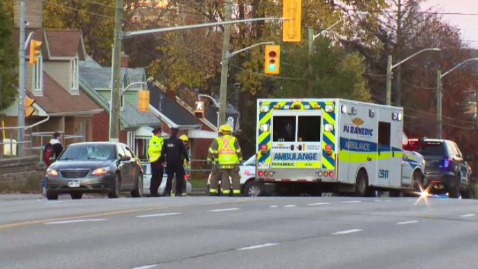 A 19-year-old man suffered a serious head injury when he was hit by a car on Columbia Street in Waterloo.