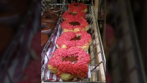 These 'poppy donuts' were being sold at a Tim Hortons in southeast Calgary on Nov. 4. (Twitter / @Crackmacs)