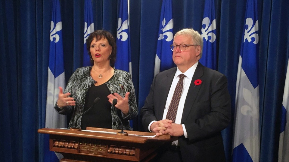 Public safety minister Lucie Charlebois and Health Minister Gaetan Barrette announce pharmacies throughout Quebec will be distributing naloxone kits for free (CTV Montreal/Maya Johnson)