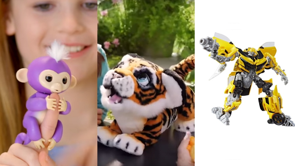 A Fingerling monkey, Tyler the Roarin' Tiger and the Transformer Bumblebee are expected to be hot toys in 2017. (WoWee and Hasbro)