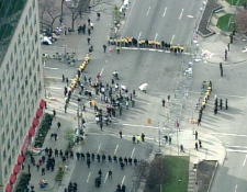 Aerial view from the CTV News helicopter over the scene as police move protesters off University Avenue and reopen the street to morning commuters, Thursday, April 30, 200.