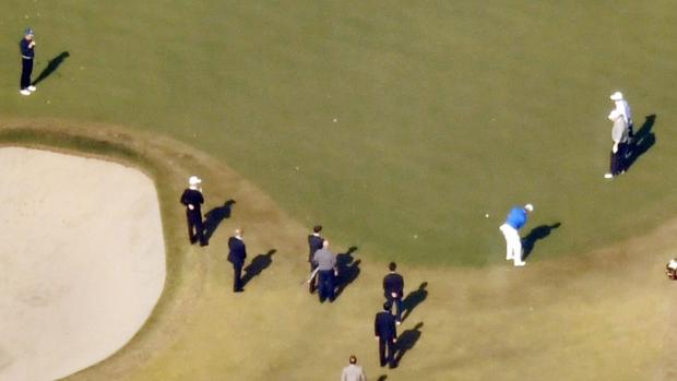 Trump and Abe playing golf in Kawagoe, Japan