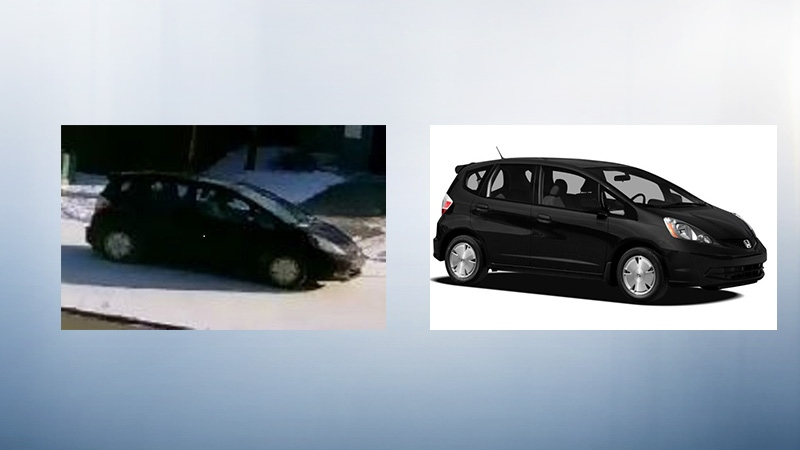St. Albert RCMP said this Honda Fit was seen on the driveway during last Monday's robbery with four people in it. Photo: RCMP.
