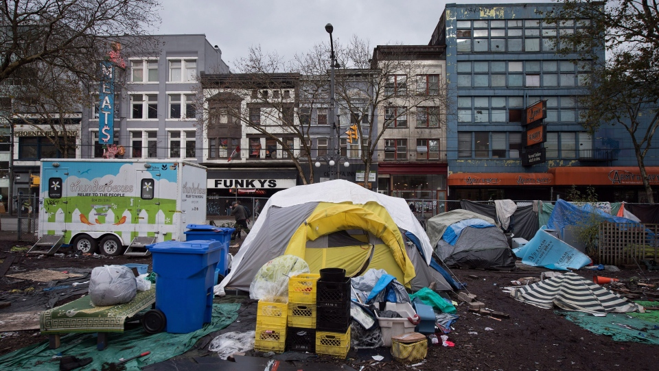 Tents are seen at a homeless camp on a city-owned lot in the Downtown Eastside of Vancouver on Thursday, Nov. 17, 2016. (Darryl Dyck/The Canadian Press)