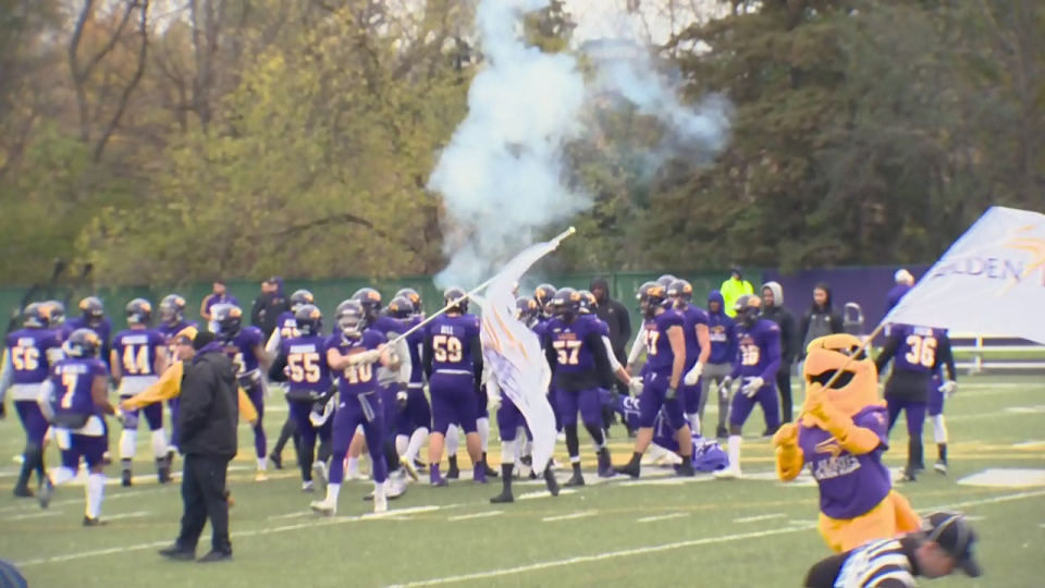 The Wilfrid Laurier Golden Hawks take the field for their OUA football semifinal on Saturday, Nov. 4, 2017.