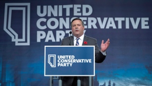 Jason Kenney celebrates his victory as the first official leader of the Alberta United Conservative Party in Calgary, Alta., Saturday, Oct. 28, 2017. (Jeff McIntosh/The Canadian Press)