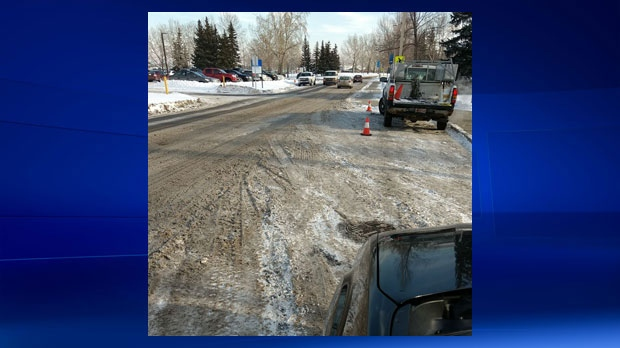 A photograph Uber sent Lisa Munroe of the road conditions outside of MRU on November 8 after Lauren Munroe's trip was charged an additional cleaning fee
