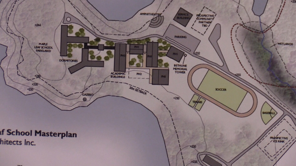 Proposal by Maple Leaf Schools for the Muskoka Regional Centre property in Gravenhurst, Ont. (CTV Barrie)