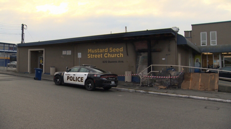 A fire at Mustard Seed Food Bank in Victoria appears to be the work of an arsonist, according to police. Nov. 9, 2017. (CTV Vancouver Island)