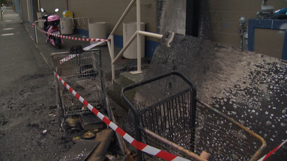 Staff say two grocery carts were filled with debris and apparently set on fire up against an exterior wall of the building. Nov. 9, 2017. (CTV Vancouver Island)