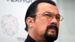 In this Sept. 22, 2015, file photo, actor Steven Seagal speaks at a news conference, while attending an opening ceremony for a research and development center in Moscow, Russia. (AP / Ivan Sekretarev, File)