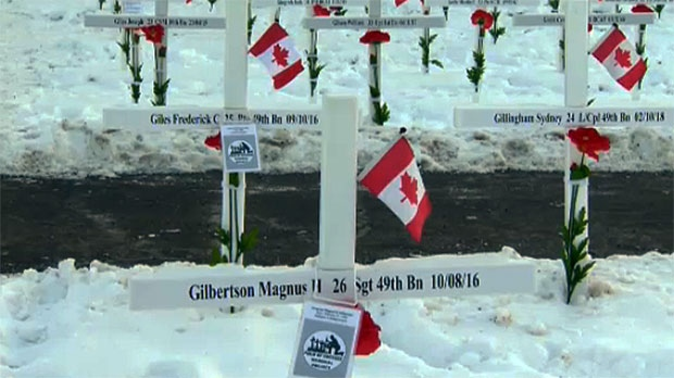 3410 crosses represent the men and women from across southern Alberta who have been killed during active duty.
