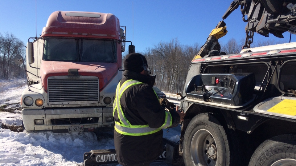 Police and tow truck operators responded to several crashes on Highway 11 in Oro-Medonte on Nov. 10, 2017 (Rob Cooper/CTV Barrie)