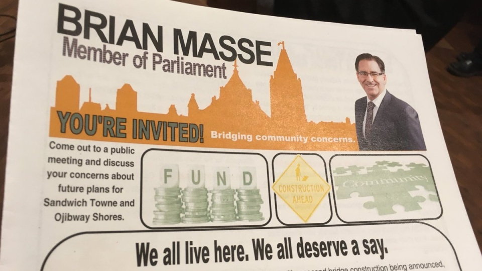 The literature Windsor West MP Brian Masse is giving to residents of Sandwich Town to ensure they know the Community Benefits process. (Chris Campbell/CTV Windsor)
