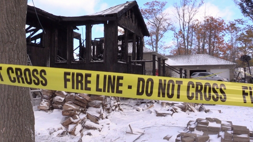 Fire destroyed a house on River Rd West in Wasaga Beach on Nov. 9, 2017 (CTV Barrie)